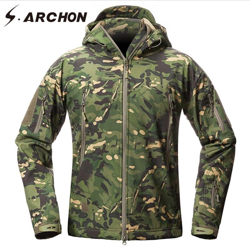 S. ARCHON Nouveau Soft Shell Camouflage Militaire Vestes Hommes À Capuchon Étanche Tactique Polaire Veste D'hiver Chaud Armée Survêtement Manteau - 2