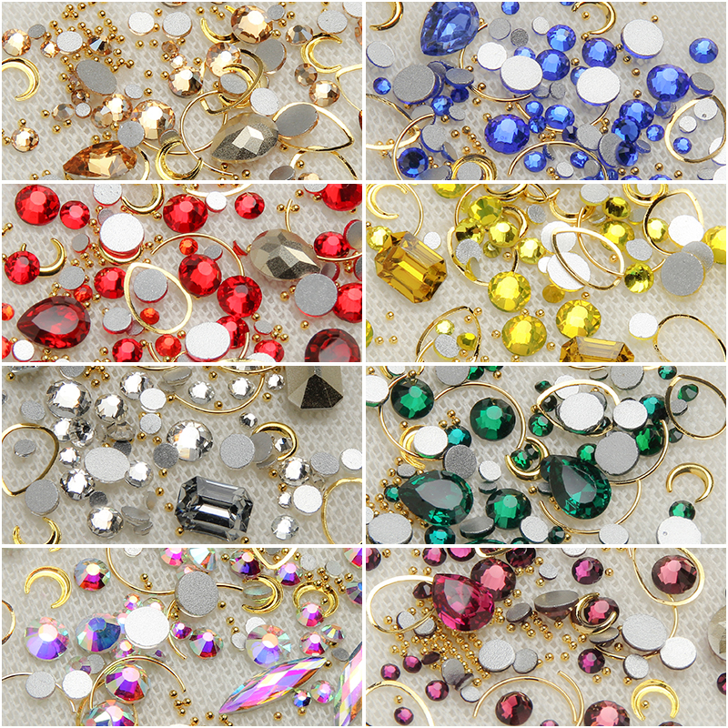 ELESSICAL Colorful Crystal Nail Rhinestones 3D Nail Art Decoration Manicure Jewelry Copper Beads Glitter Nail Accessories Rivet in Rhinestones Decorations from Beauty Health