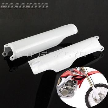 цена на Motocross Enduro Front Fork Guard White Plastic Frame Protection Cover For Honda CR125 CR250 CR500 1993-2018 CRF250 CRF450 R X