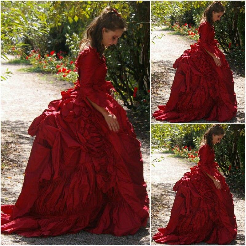 Красное платье в викторианском стиле 1860 s, винтажное платье для костюмированной вечеринки, Скарлетт, платье SZ US6 36 V 308