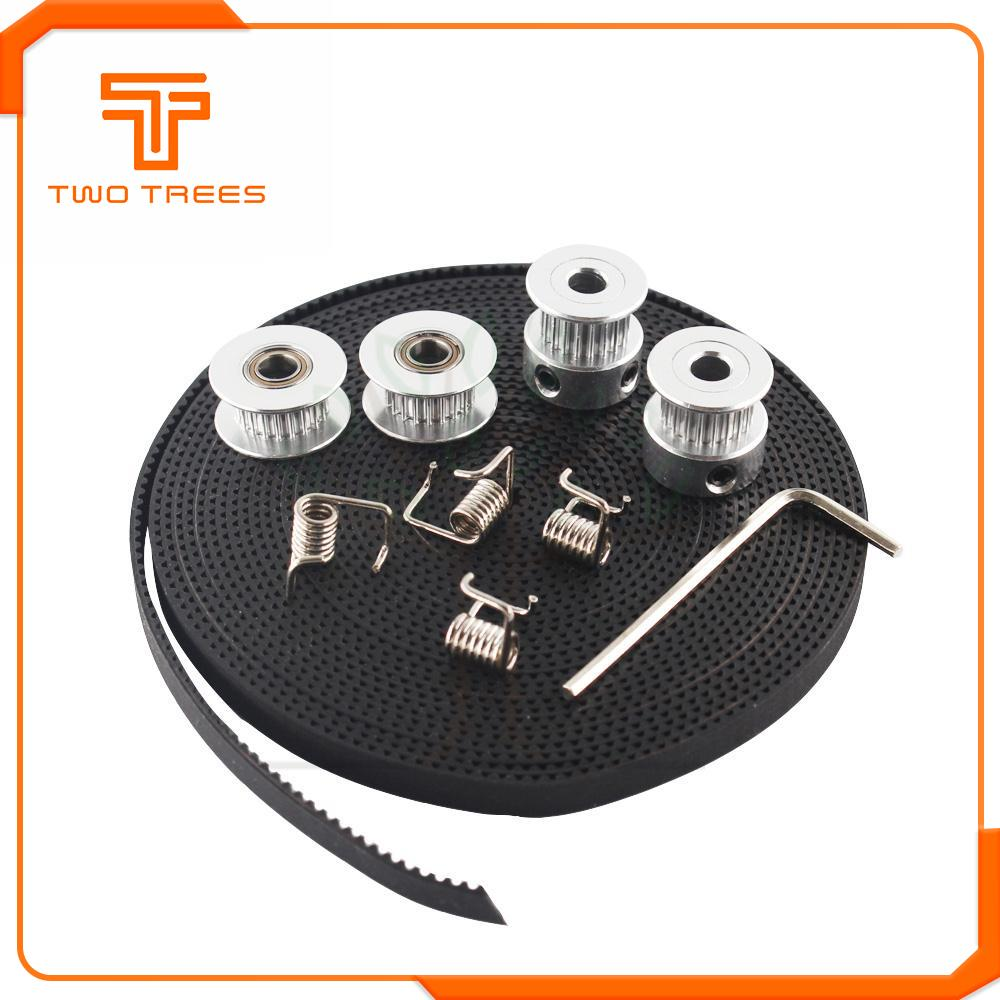 3D Printer Parts GT2 Pulley 20 Teeth Bore 5mm GT2 6mm Timing Belt & 2X Idler 4X Tensioner  For 3D Printer Kit