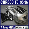 ABS Motorcycle body fairings kit for Honda silver black 1995 CBR600 F3 1996 CBR 600 F3 CBR600F3 95 96 fairing kits & tank cover