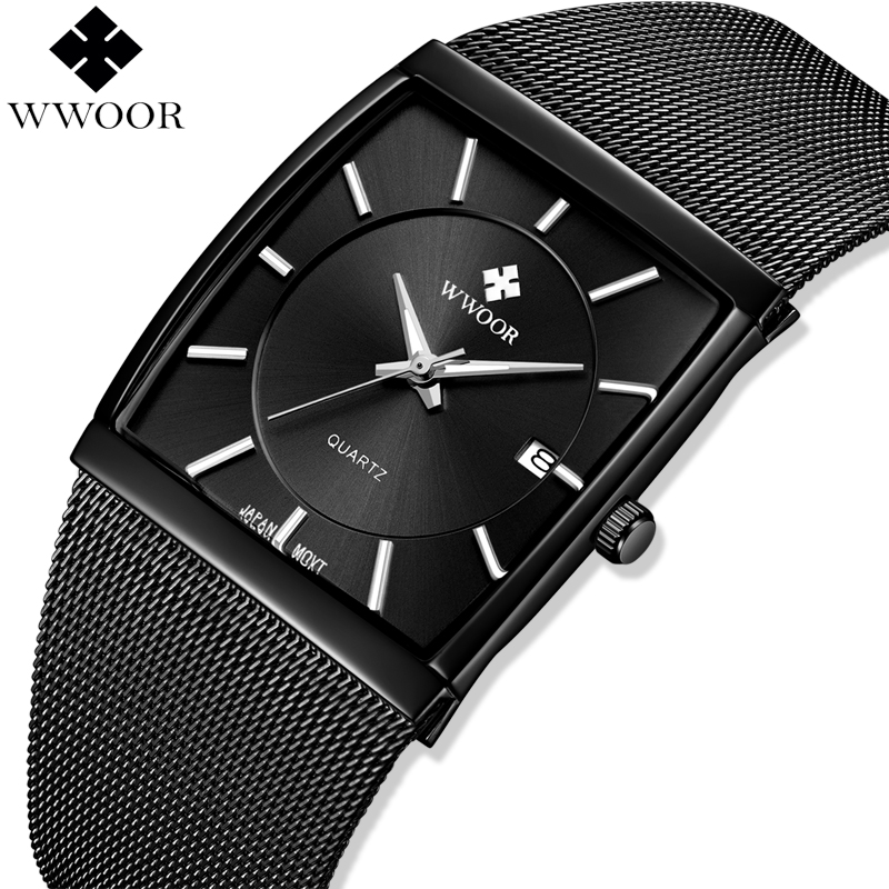 WWOOR Men Watches Top Brand Luxury Square Clock Men Quartz Watch Waterproof Black Steel Mesh Business Male Wrist Watch Man Gift
