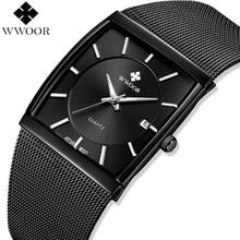 WWOOR Men Watches Top Brand Luxury Square Clock Men Quartz Watch Waterproof Black Steel Mesh Business Male Wrist Watch Man Gift