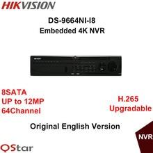 Hikvision Оригинальный Английский NVR 64CH DS-9664NI-I8 до 12MP разрешение H.265 8 SATA/8 HDD до 4 К Выход HDMI DHL Бесплатная Доставка