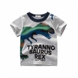 Lollas/Летняя футболка для маленьких мальчиков хлопковые топы с короткими рукавами и принтом динозавра, футболки для детей, детская повседнев...
