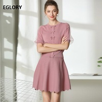 New 2019 Summer Fashion Sweater Suits Women Organza Patchwork Short Sleeve Knitted Sweater Cardigan+A Line Pink Black Skirt Set