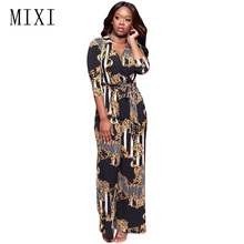 MIXI Casual Printed Jumpsuit Rompers Women 3/4 Sleeve V Neck Belted Loose Wide Leg Jumpsuit Long Pants Overalls Elegant Playsuit