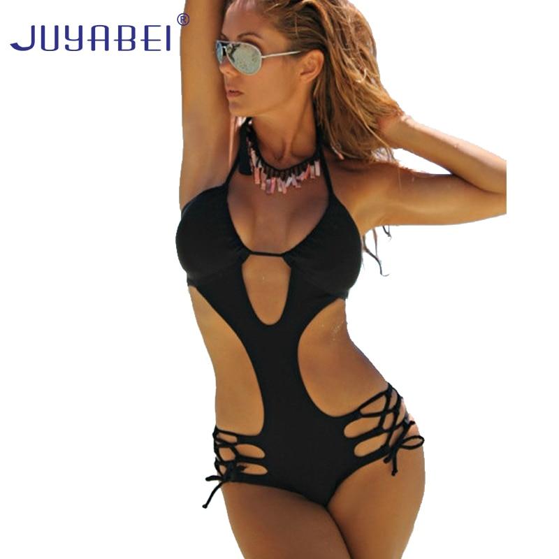 JUYABEI Black Sexy Trikini 2017 New One Piece Women Swimsuit Floral Print Thong Bikini Bandage Monokini Beach Bathing Suits new 2017 swimwear women print one piece swimsuits hollow sexy monokini high cut thong swim suits bathing suits brazilian trikini