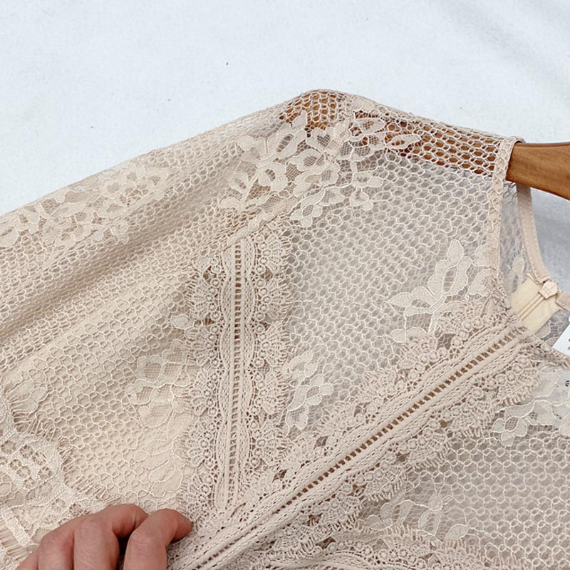 Image 3 - QZ05 New Spanish Design O Neck Lace Patchwork Pleated Fairy Dress Women Solid Color Sweet VestidosDresses   -