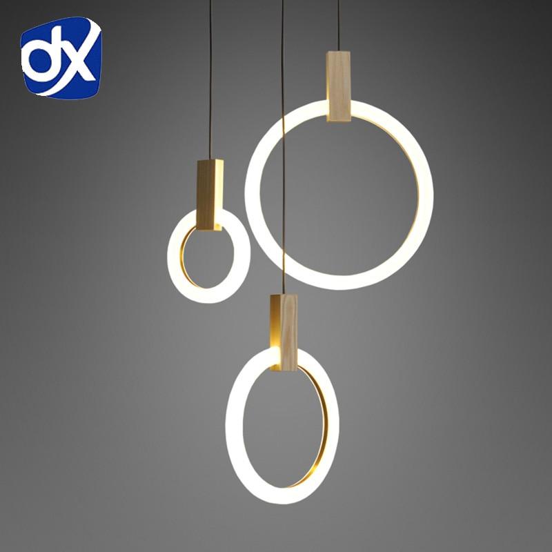 Wood Pendant Acrylic LED Ring Pendant Light For Dinning