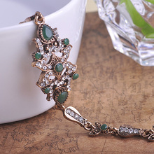 Blucome Antique Gold Plated Vintage Black Bangles Resin Bracelets Pulseiras Feminino Green Pulseras Turkish Bracelet Bijouterie