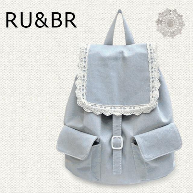 RU&BR  New korean fresh Style Leisure Shoulders Bag Lace  Breathable Denim Backpack Solid Pattern Female Students School bags