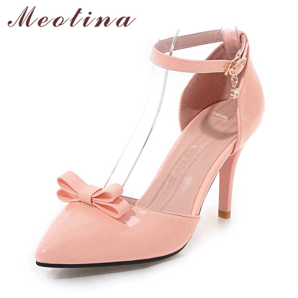 2017 hot women metal strappy pumps sandals high heels wedding shoes stiletto ladies pointy toe high heeled ankle strap shoes Meotina Women Shoes Ankle Strap High Heels Bow Pumps Pointed Toe Stiletto Heel Pumps Autumn Size 33 9 43 Party Ladies Shoes Pink