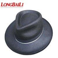 Casual Summer White Straw Fedora Hats For Men Wide Brim Sun Beach Panama Caps Jazz Free Shipping SDDS064