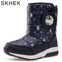 SKHEK Winter Kids Snow Boots Round Toe Girls Boys Shoes Flower Fashion Winter Shoes For Children Waterproof Boots Black 1701