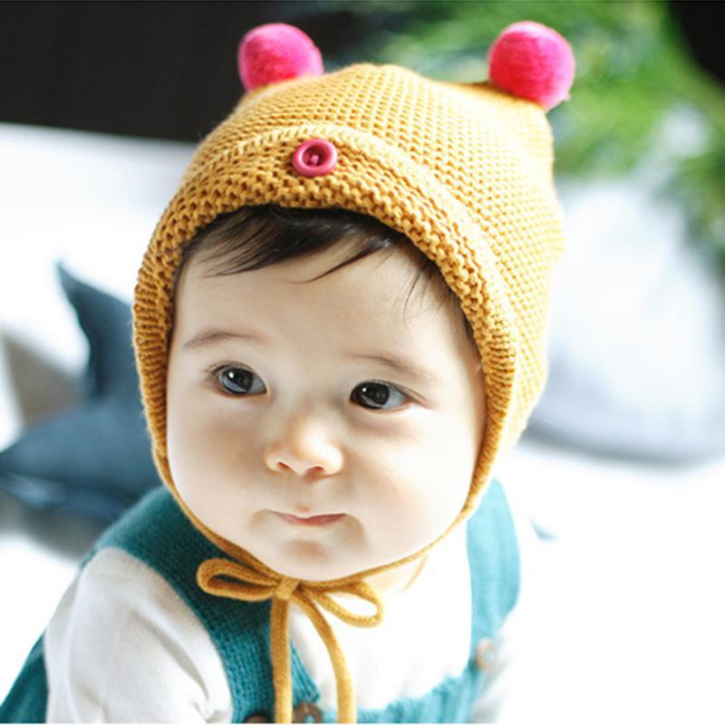 2017 Winter Baby Hat Knit Crochet Cap Hats For Girls Children Cotton Warm Baby Cap Warm Autumn Winter Kid Beanie Unisex