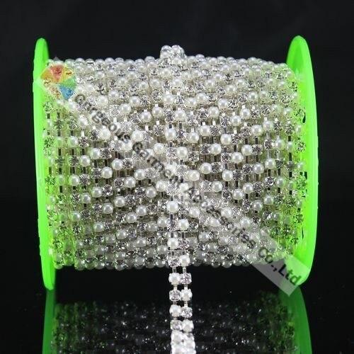 5Y жемчуг и прозрачный альтернативный 2 ряда Чешский горный хрусталь diamanate цепи с SS16 4 мм стразы; Цвета: золотистый, Серебристый; обувь с ремешками для аксессуары «сделай сам»