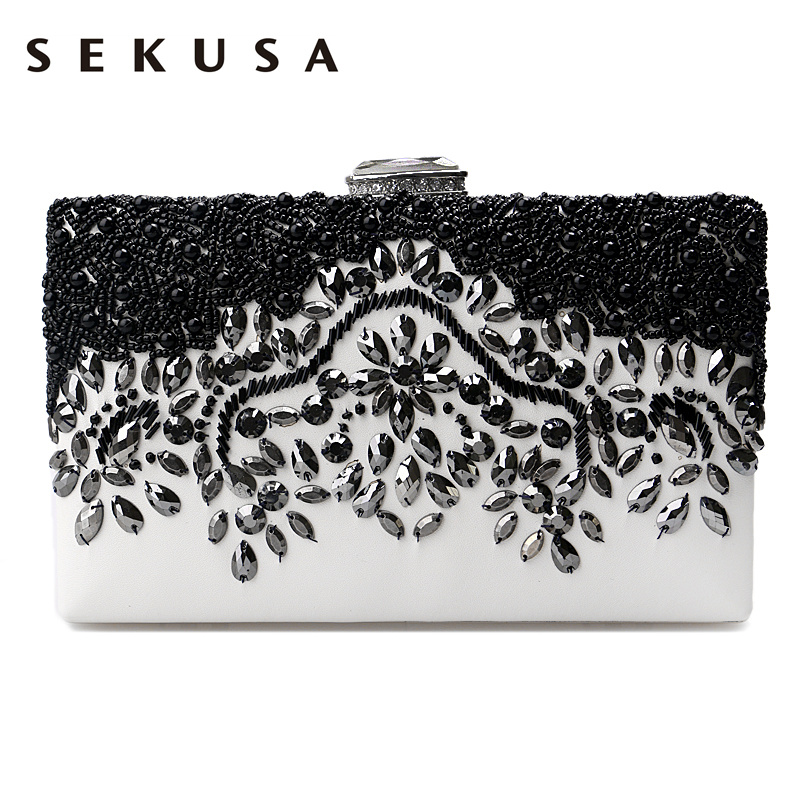 SEKUSA PU Fashion women diamonds luxurious evening bags clutch messenger shoulder chain handbags purse beaded wedding bag pu women messenger chain shoulder handbags beaded handmade style metal diamonds evening bags leather fashion purse bags