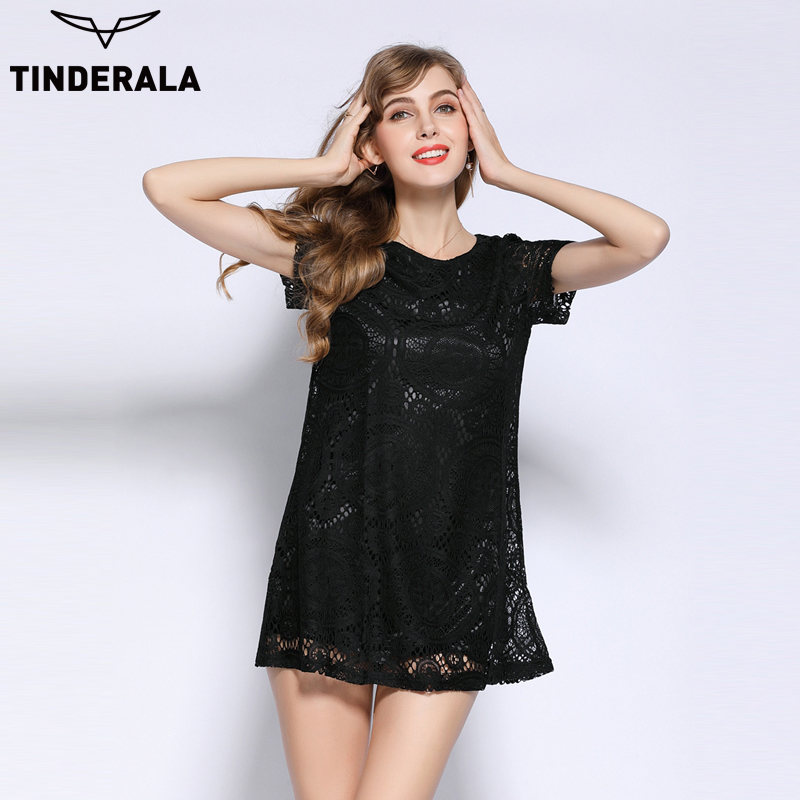 Buy Cheap TINDERALA 2017 Fashion Female Summer Style A-Line Short Sleeves Dress Summer Women Hollow Out Lace Sexy Dress