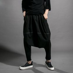 2018 Мужская Личность ночной клуб одежда стилист простой штаны-шаровары модная одежда свободные брюки для ежедневной носки мужские