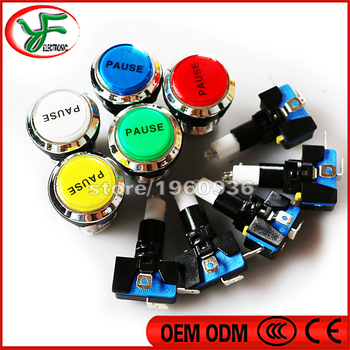 5 colors PAUSE Logo button 12V LED CHROME Silver plated illuminated Push Button+microswitch for JAMMA Arcade game machine parts image