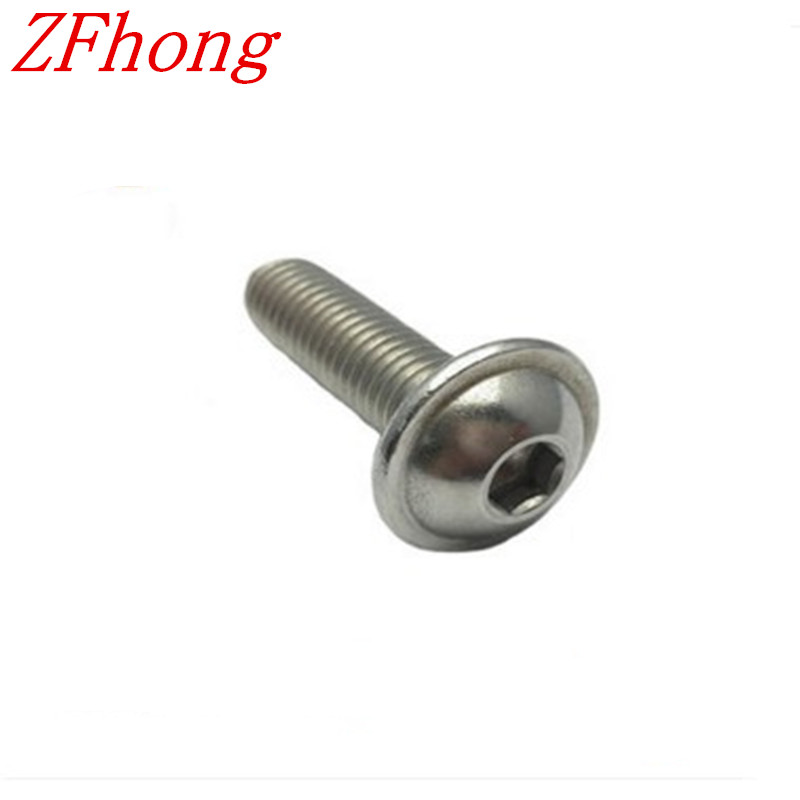 20pcs m6*8/10/12/16/20/25/30 hex socket washer flange button head screw stainless steel 304 50pcs iso7380 m3 5 6 8 10 12 14 16 18 20 25 3mm stainless steel hexagon socket button head screw