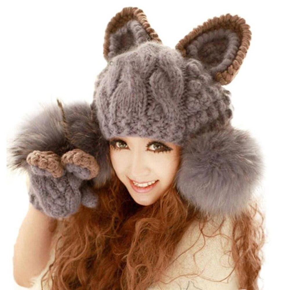 New Brand Beanies Knit Women Winter Caps Skullies Stretch Winter Hats For Women Beanie Fox Warm Knitted Wool Hats Nov23 skullies
