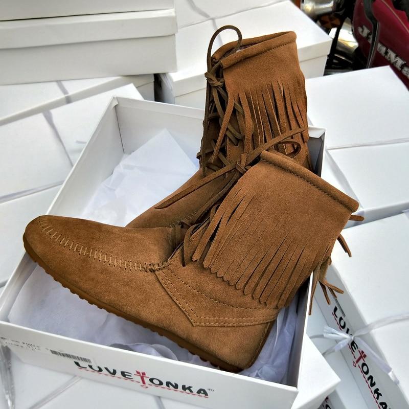 As as Fringe Chaussures 2018 Femme Lace Up Marée Daim Pic Confortables En Pic Bottes Rond Plat Bout Casual Western Cheville Conception Automne Hiver rqH1nIH