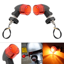 2pcs 12V Motorcycle Signal Lamp Red Lens Retro Lateral Direction Turning Lights Cornering Turn Light for