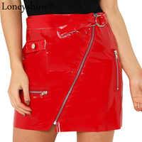 676eb06c536 Loneyshow Для женщин летние сексуальные кожаные юбки Яркий ПУ молнии  спереди карман мини Женский юбки Высокая