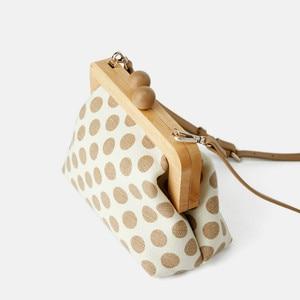Image 4 - Dot Wooden Clip Bags for Women Canvas Womens Shoulder Bag Retro Crossbody Bags Designer Brand Ladies Clutch Purse Messenger Bag