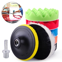New 7pcs 5 125mm Car Polishing Waxing Sealing Glaze Buffing Wool Sponge Pads Kit Car Polisher