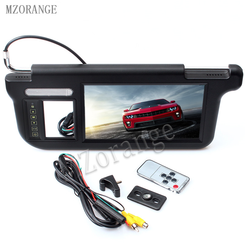 MZORANGE Black Touch 9 inch 800X480 Resolution Car Sun visor monitor 2 Channel DVD TV Media