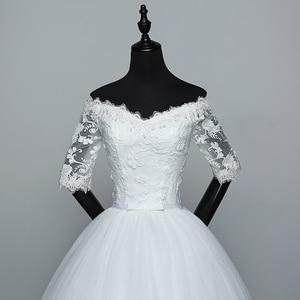 Image 5 - Hochzeit Kleid 2020 Neue Ankunft Blumen Schmetterling Gelinlik Stickerei Spitze Boot ausschnitt Prinzessin Hochzeit Kleider Vestidos De Novia