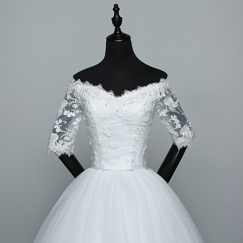 Wedding Dress 2021 New Arrival Flowers Butterfly Gelinlik Embroidery Lace Boat Neck Princess Wedding Gowns Vestidos De Novia