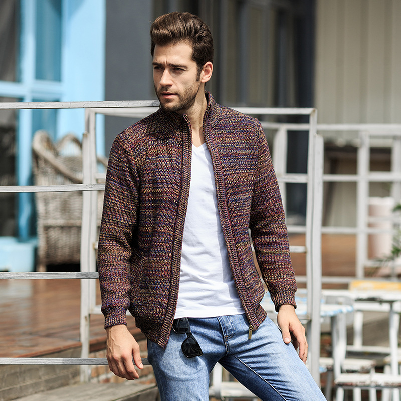 2019 Autumn Winter New Men Long Sleeve Cardigan Winter Warm Thickening Casual Sweaters Knitter Mens Plus Velvet Brand Clothes