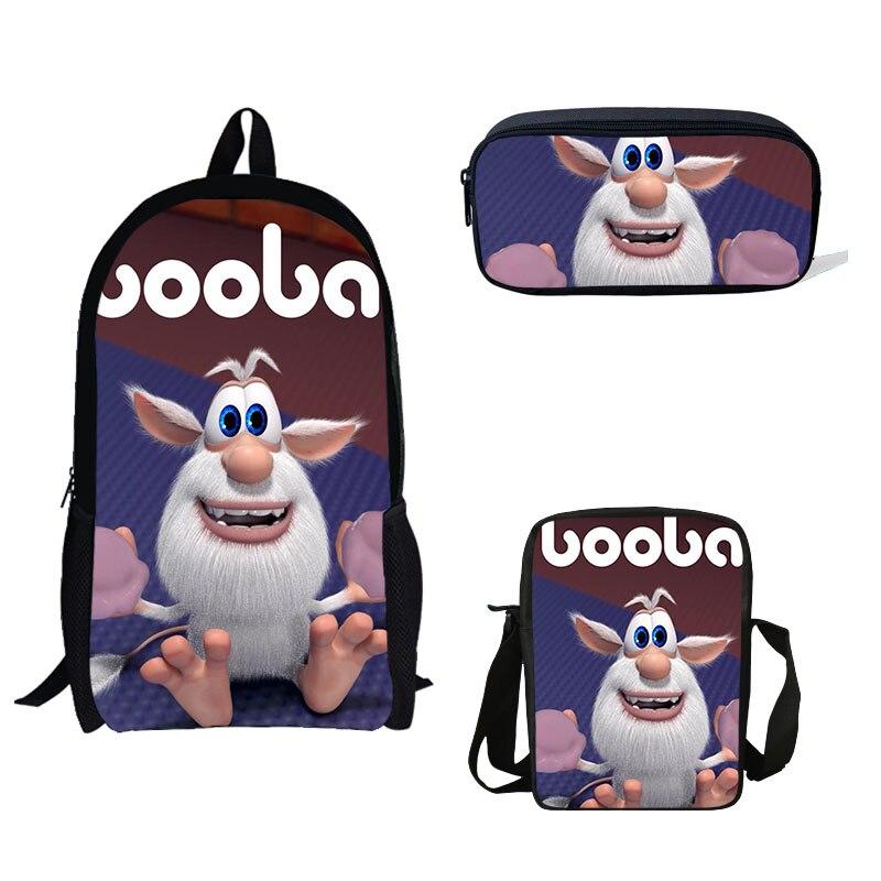 School Bag Russian Cartoon Booba Buba Print Backpacks Children Bookbag Boys School Bag Mochila Daily Shoulder Set Pencil Bag