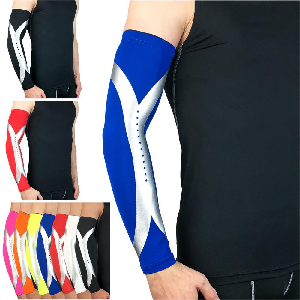 Sports Arm Guard Protective Gear Silver Reflective Design Basketball Sports LFSPR0033