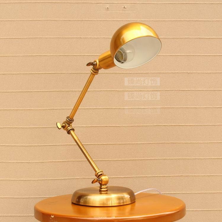 Лампы творческий американской моды ретро Коромысла Настольная лампа бронза прикроватная тумбочка для спальни исследование hotel прямой FG359