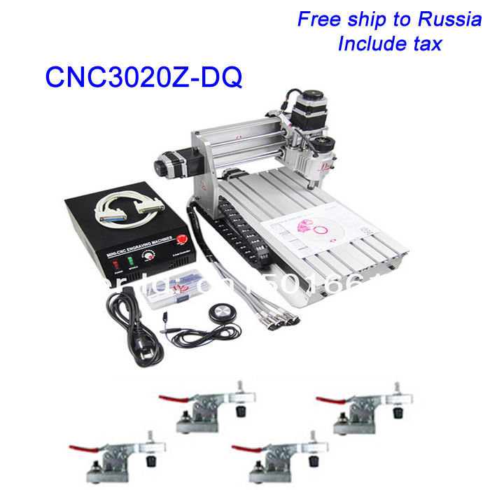 CNC 3020Z-DQ Engraver, cnc router Ball Screw Tool Auto-checking Instrument clamp holder as gift,Russia free tax!! 3axis cnc 3040z d 300w spindle with ball screw and aluminum clamp plate holder free tax to russia