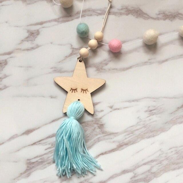 Nordic Kids Room Crafts Sleepy Eyes Wood Eyelash Stars Decorative