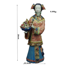 Chinese Statue Figurine Fine Ceramics Ornaments Classical Ladies Figure Longevity Handicrafts Sculpture Art Craft