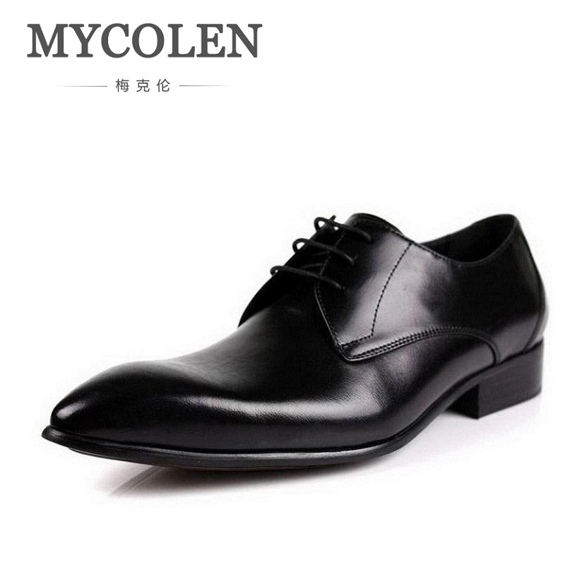 MYCOLEN 2018 Business Genuine Leather Men Shoes British Style Wedding Dress Shoes Formal Wearing British Men Casual Shoes 2016 new british style brand classic men s oxfords shoes mens dress business shoes fats 100% genuine leather shoes free shipping