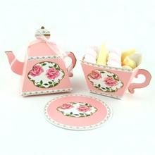 10 Uds Vintage tetera taza de té la creatividad caja de caramelos para bricolaje bolsa de papel de favores de la boda y regalos de la ducha de bebé suministros de fiesta de cumpleaños