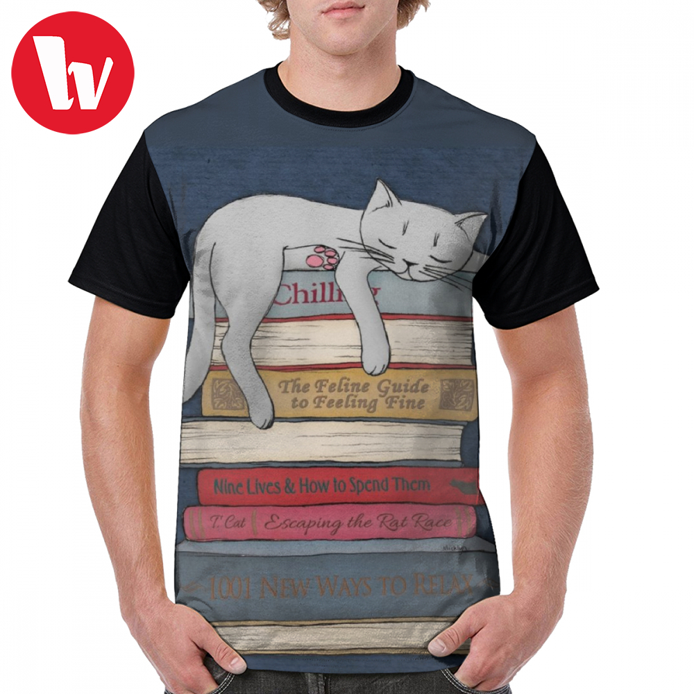 Humor T Shirt How To Chill Like A Cat T-Shirt Short-Sleeve Mens Graphic Tee Print Funny Fashion Polyester Oversize Tshirt
