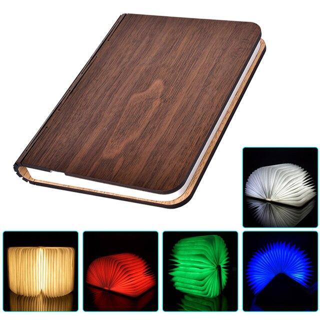 RGB + WW LED Ночник Складной Свет Книга Порт USB Аккумуляторная Деревянный Магнит Крышка Творческий Дом Стол Потолка декор Лампы