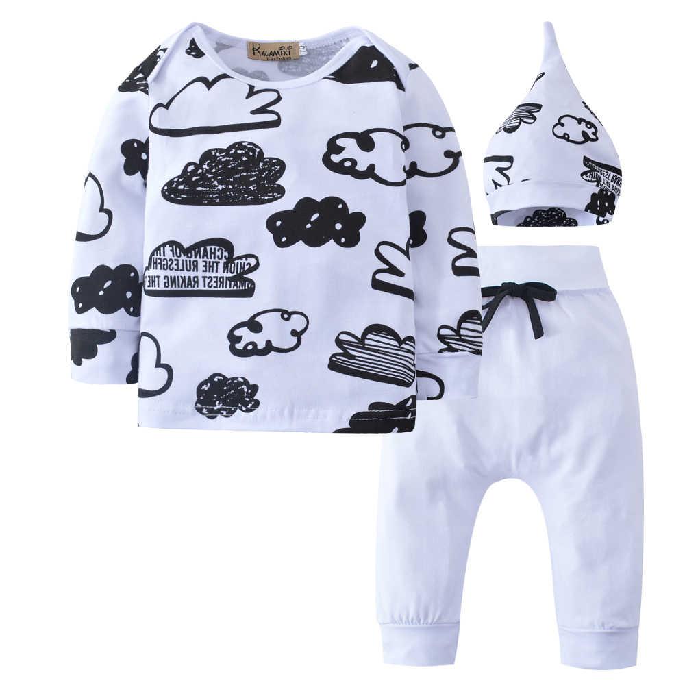 תינוק ילד בגדים 2020 סתיו תינוקת ערכות בגדי יילוד כותנה מודפס ארוך שרוולים חולצה + מכנסיים + כובע ילדים 3pcs חליפה