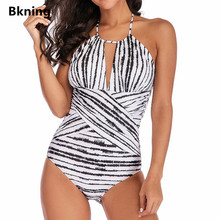 цены Bkning Plus Size One-piece Swimwear Large Size Swimsuit For Women 1 One Piece Swimming Suit 2019 Halter Striped Monokini S - 5XL