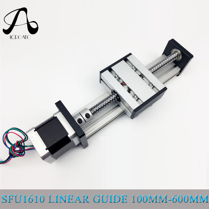 Livraison gratuite rails linéaires CNC course efficace rails linéaires et glissières SFU1610 rail linéaire curseur 23 nema moteur pas à pas
